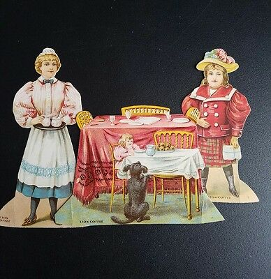 Antique Victorian Lion Coffee Paper Doll Trade Card  ~The Dinning Room~