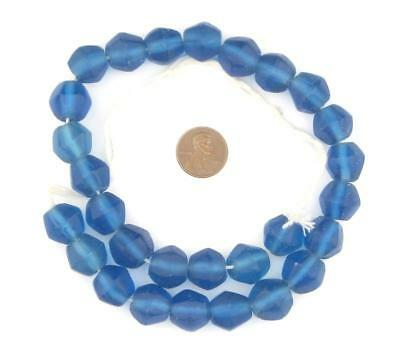 Blue Java Sea Glass Faceted Bicone Beads 15mm Indonesia Large Hole