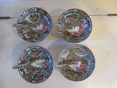4 Rose Medallion 5 Inch Bowls & Spoons Chinese Export Antique