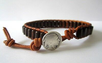 Unisex Men's Brown Chocolate Wood Beads Leather Wrap Bracelet Native American