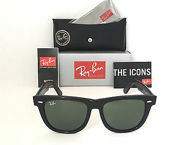 NEW -Wayfarer Ray Ban RB2140 901 54mm Green G-15 Lens Large Black Frame