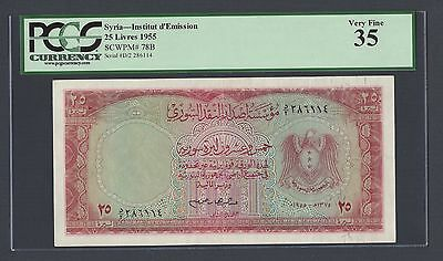 Syria 25 Lira 1955 Second Issue P78B Issued Note Very Fine