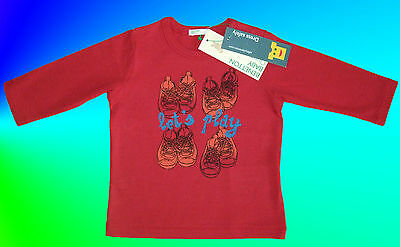 """Benetton Baby Boys Or Girls Red """"lets Play"""" Long Sleeved Top. Soft 100% Cotton."""