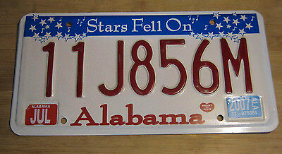 "2007 Alabama ""stars Fell On"" License Plate Expired  11 J8 56M"