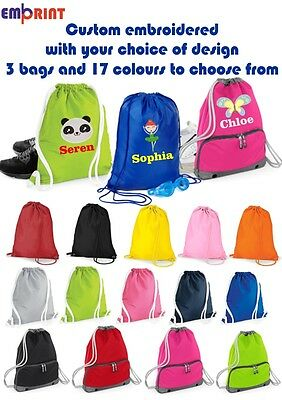 57ba0d2dbe56 Personalised Embroidered Girls Childrens Drawstring Gym PE Kids School Boot  Bag
