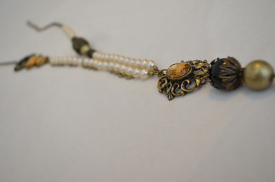 Faux vintage shabby chic rustic pearl pendant beaded necklace new look