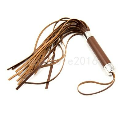 """Sexy 19.7"""" Whip Leather Flogger Handle Tassels Flirting Tawse roleplay brown new"""