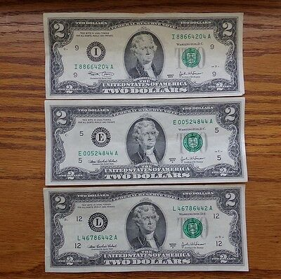 Lot Of 3 - Us Federal Reserve Note $2 Bills Circulated Series 2003