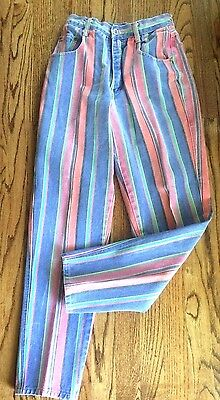 NUOVO Striped Jeans by COUNTY SEAT 1970's sz 7/8 Rock N Roller Tight  High Waist