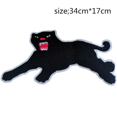 Big Black Leopard Embroidered Patch Applique Iron On Patches Panther Motif