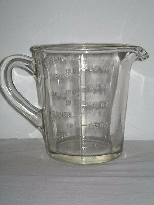 Lge Art Deco Circa 1930's Depression Clear Glass Measuring Jug 2 Pint or 5 Cups