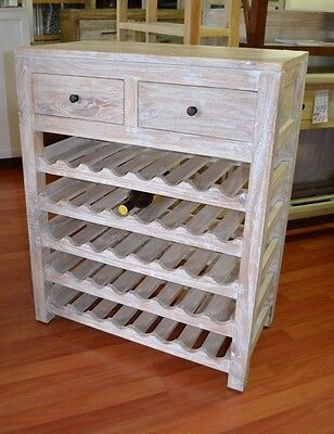 Whitewash Cedarwood Timber Wine rack stand storage hamptons beachy