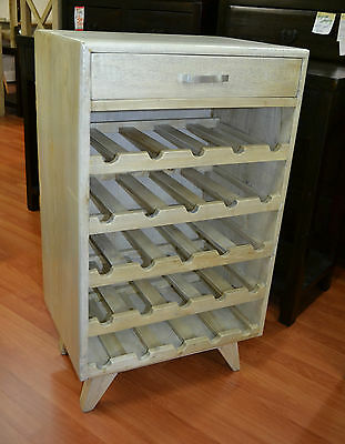 Mango Fruit Wood Timber  retro danish modern Wine Rack wine storage 25 bottles