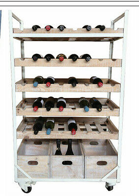 White Rustic Recycled Timber   Industrial Wine Rack on castors 40 bottles