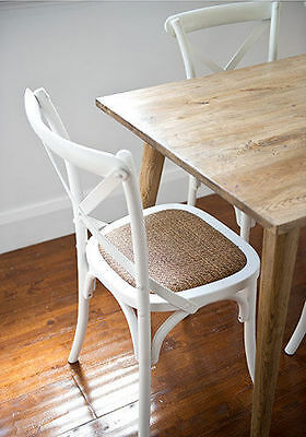 Retro Vintage Oak Dining Table and 6 white  chairs  ,Danish style table 180x85