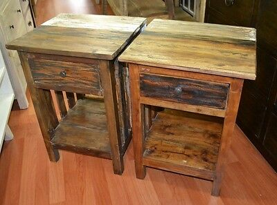 Recycled Timber  rustic country shabby chic bed side table bedside tables