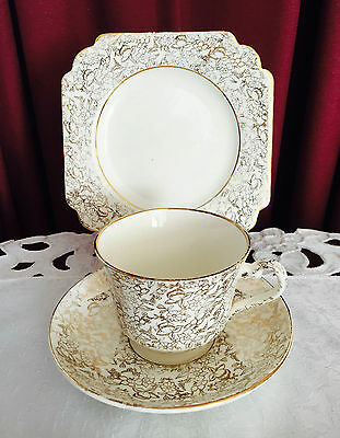 Vintage T F & S Ltd 'a' -Thomas Forester & Sons England Gold Chintz Trio C1940's