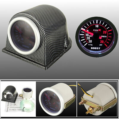 Universal 2'' 52mm LED Turbo Boost Gauge Meter Pointer PSI Pod Cup Smoke Lens
