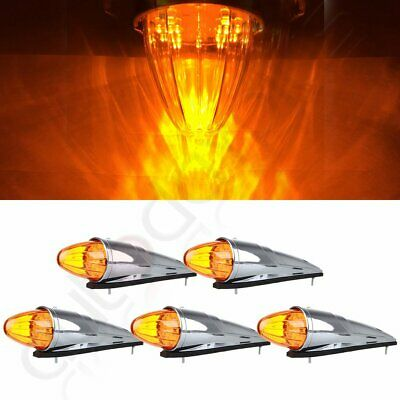 5) 17LED Amber Semi Truck Roof Cab Marker Clearance Light Assembly for Peterbilt