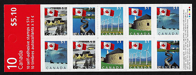 Canada Stamps -Booklet Pane of 10 Stamps -Flag Booklet #2139a (BK317) MNH