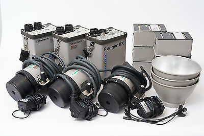Elinchrom Ranger RX/Free Style Battery Flash Packs and Heads x 3