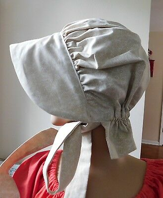 GIRLS BONNET HAT  COSTUME PIONEER LITTLE HOUSE 100% COTTON white on tan