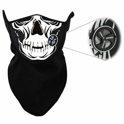 New Skull Mesh Venting Neoprene Fleece Face Mask Warmer Biker Motorcycle Black