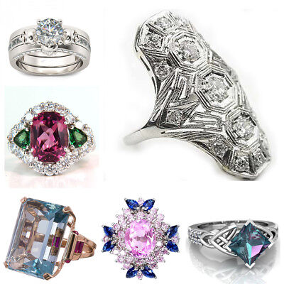 Huge 925 Silver White Topaz Ruby Woman Jewelry Wedding Engagement Ring Size 6-10