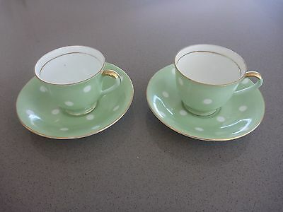 2 x Demitasse Duos cups and saucers with Gold Trim Green Polkadot Japan
