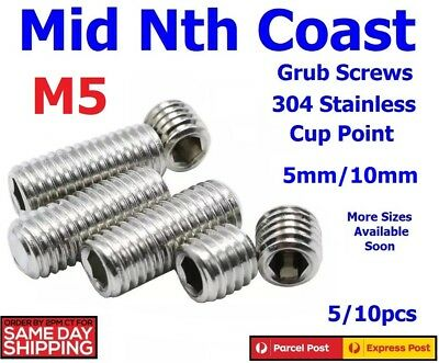 2/5/10pc M5 x 3-10mm Stainless Steel Allen Key Hex Head Set/Grub Screw Cup Point