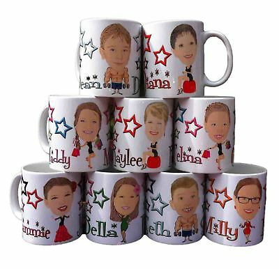 Personalised CARTOON CARICATURE MUG with YOUR NAME using YOUR PHOTO