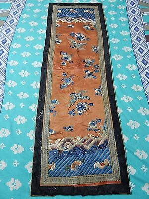 Antique Chinese Hand Embroidery Silk Qing Dynasty Panel 135X45cm (X282)