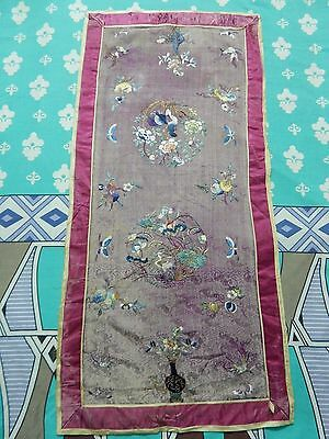 Antique Chinese Hand Embroidery Silk Qing Dynasty Panel 97X46cm (X277)
