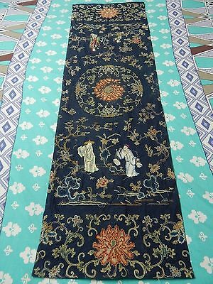 Antique Chinese Hand Embroidery Silk Qing Dynasty Forbidden Stitch Panel (X283)