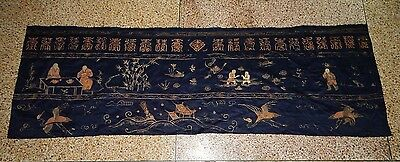 Antique Chinese Hand Embroidery Silk Wall Hanging Panel 175X57cm with Signature