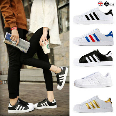 New Womens Men's Superstar Striped Lace Up Leather Sport Sneakers Trainers Shoes