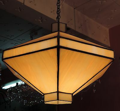 Rare Old Antique Stained Glass Hanging Light Lamp With Ceiling Mount [Hexagon]