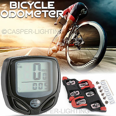 Wireless Bike Bicycle Computer LCD Speedometer Odometer & Shimano Cleats SM-SH11