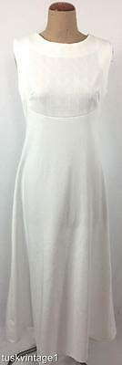 VINTAGE 60s WHITE embossed top empire A line MAXI gown DRESS 10 12