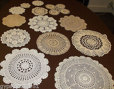 13 Vintage Round Crochet Doilies (Some Hand Done) Batch 2