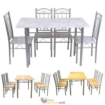 Modern Wooden Dining Table and 4 Chairs Seats Living Room Kitchen Furniture UK
