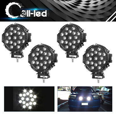 4X 7inch 51W Flood LED Work Light Pods ATV Jeep Pickup 4X4 Round Offroad Driving