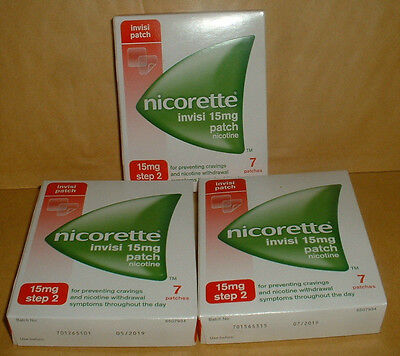 Nicorette 15Mg Patch X 3 Pkts 21 In Total-- Step 2-- Brand New  Sealed