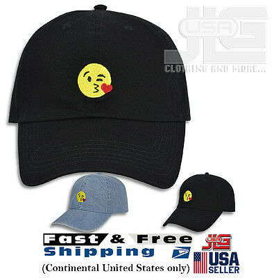 3d6db672eb3 Kissing Heart Emoji Embroidered Dad Cap Hat Adjustable Polo Style  Unconstructed