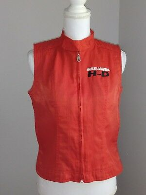 Harley Davidson womens vest small zip front red black excellent condition