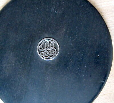 Vintage Ebony Hand Mirror Silver Monogram With 2 Brushes for clothes & hat