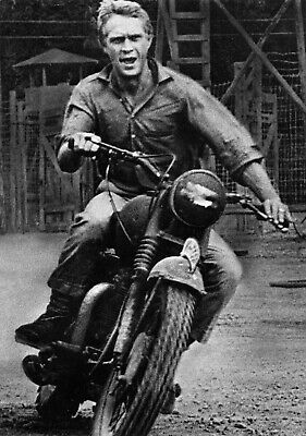 Steve McQueen The Great Escape 1963 Art Canvas Movie Poster Film Print King Cool