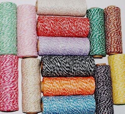 4ply Cotton Bakers Twine 10M 1mm String in lots of divine colours