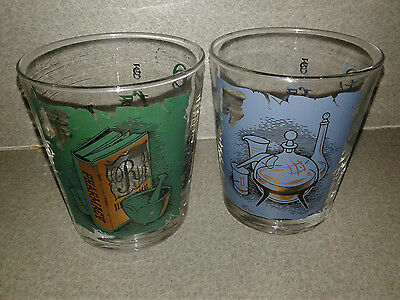 2 VINTAGE Retro 1960s LIBBEY RX Apothecary Pharmacy Rocks Drinking BAR GLASSES