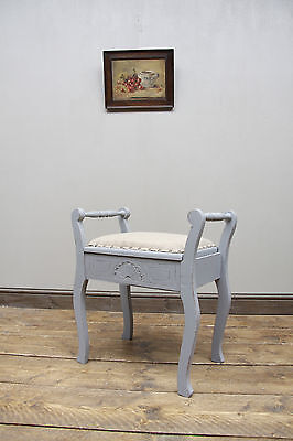 Shabby Chic Piano Stool with Lift Up Lid, Grey with Hessian Seat